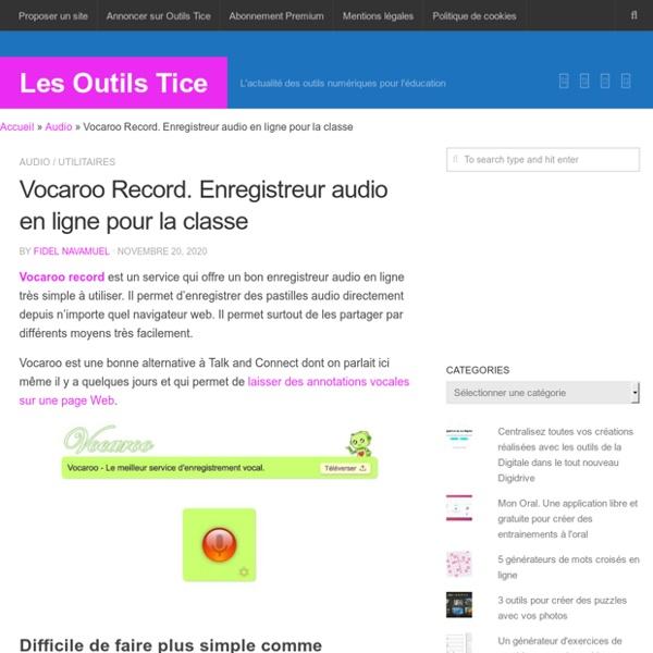 Vocaroo Record. Enregistreur audio en ligne pour la classe