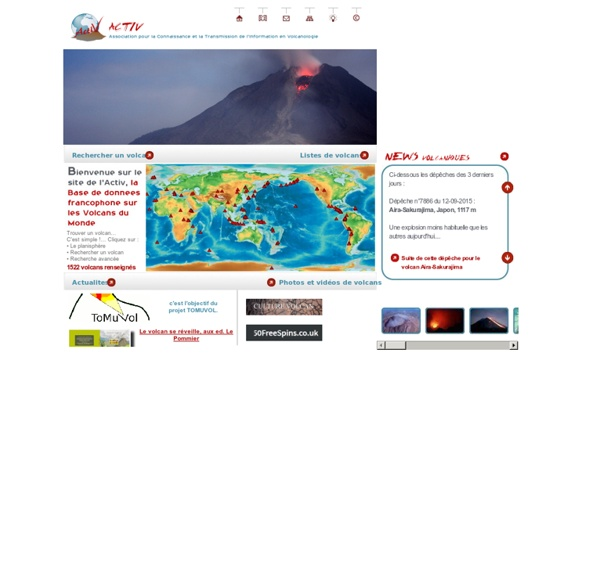 Volcan et volcans du monde sur ACTIVOLCANS.