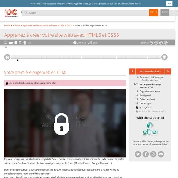 Votre première page web en HTML - Apprenez à créer votre site web avec HTML5 et CSS3