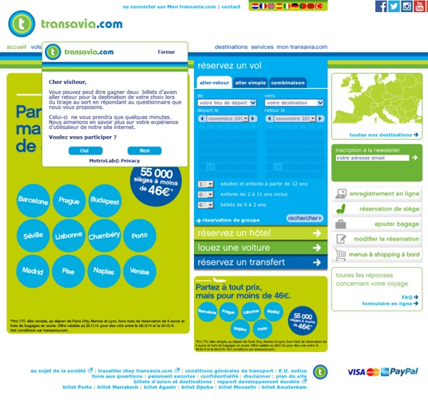 Voyager à petit prix avec un billet d'avion de transavia.com