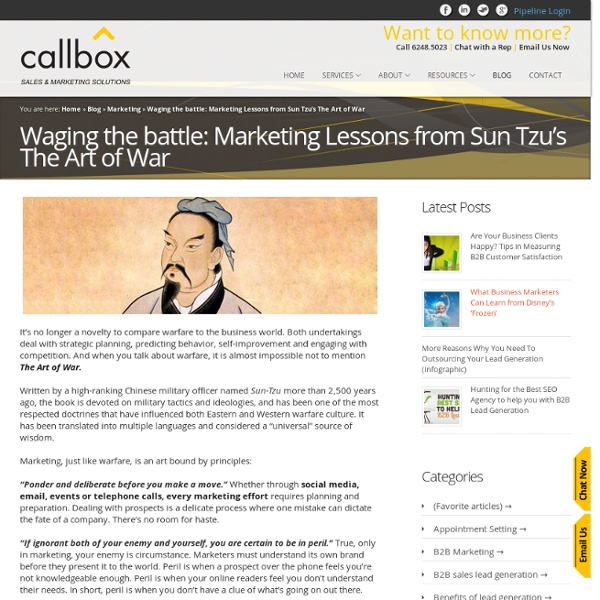 Waging the battle: Marketing Lessons from Sun Tzu's The Art of War