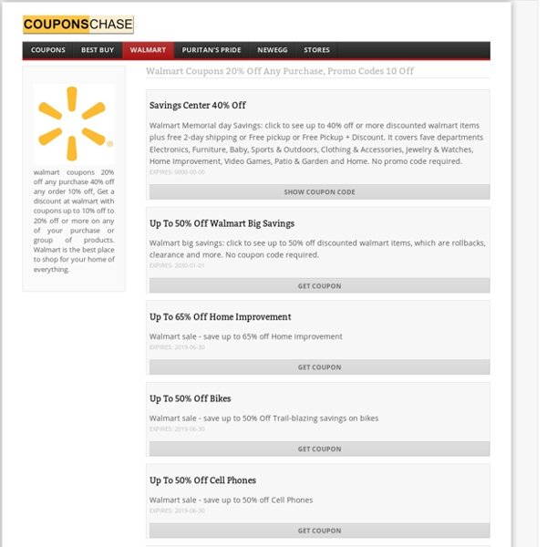 Walmart Coupons 20% off Any Purchase