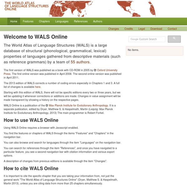 WALS Online : the world atlas of language structures