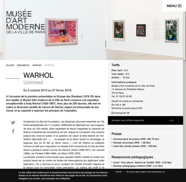 Andy Warhol - Unlimited - MAM Paris
