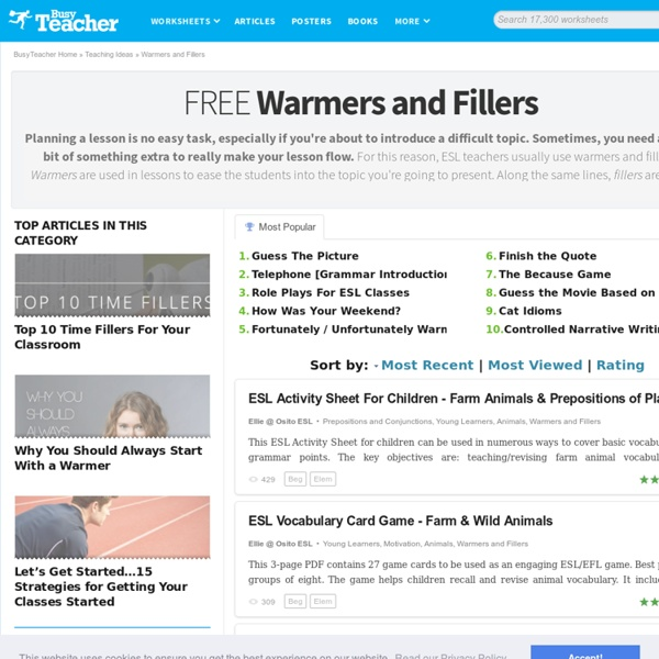360 FREE Warmers, Ice-Breakers and Fillers For The ESL Classroom