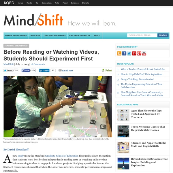 Before Reading or Watching Videos, Students Should Experiment First