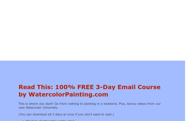 Watercolor Painting Free lessons and tutorials, Step-by-step paintings, techniques, hints and tips
