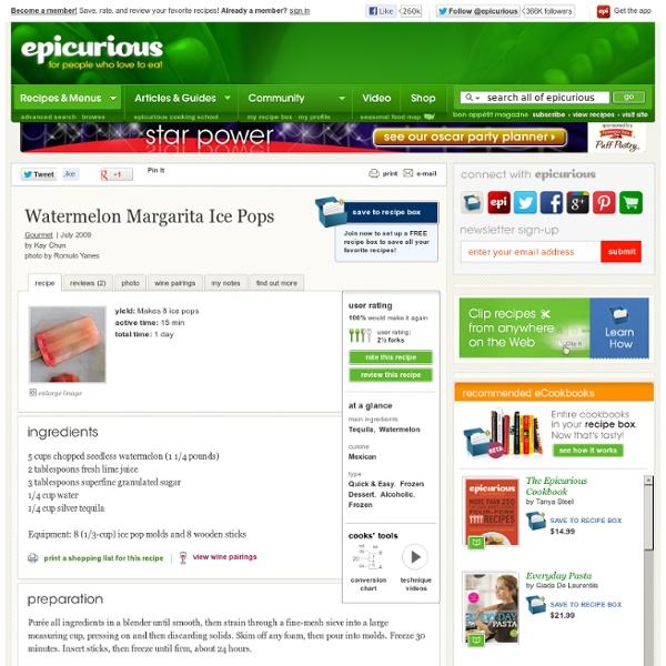 Watermelon Margarita Ice Pops Recipe at Epicurious