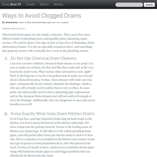 Ways to Avoid Clogged Drains