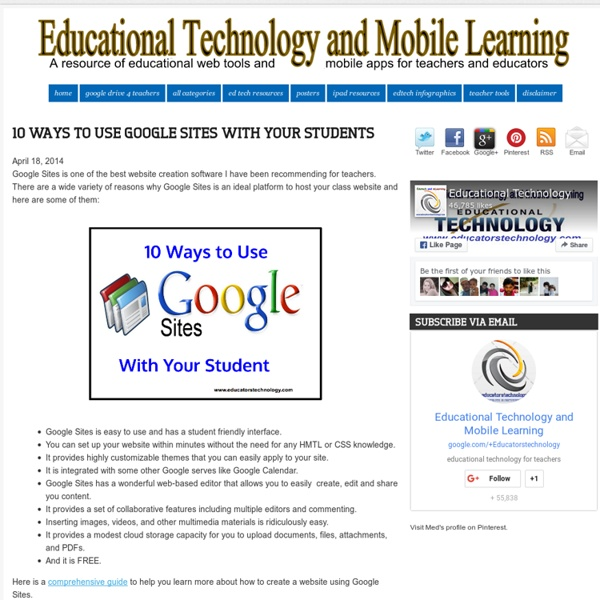 10 Ways to Use Google Sites with Your Students