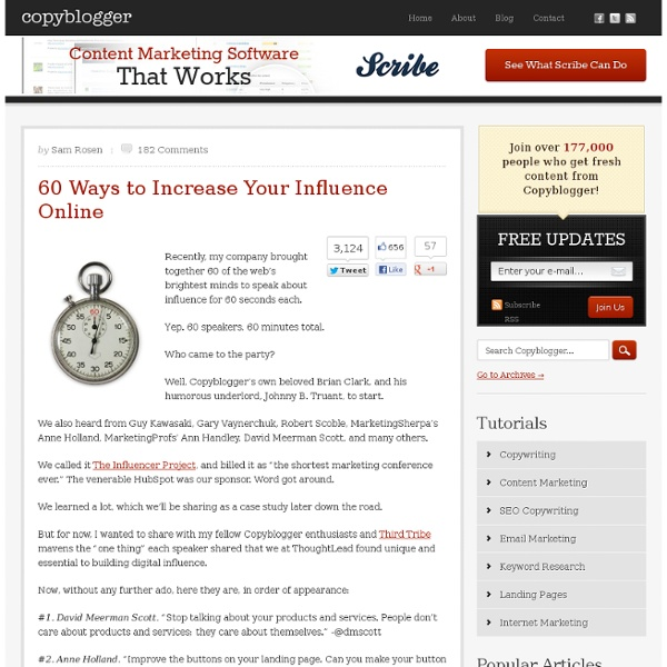 60 Ways to Increase Your Influence Online