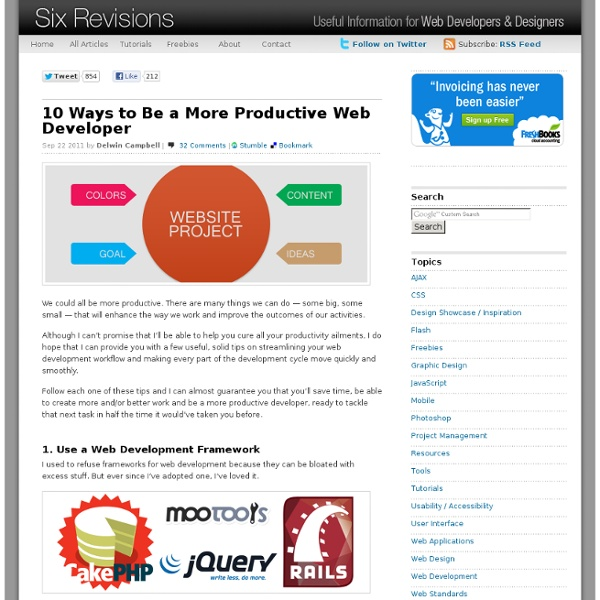 10 Ways to Be a More Productive Web Developer