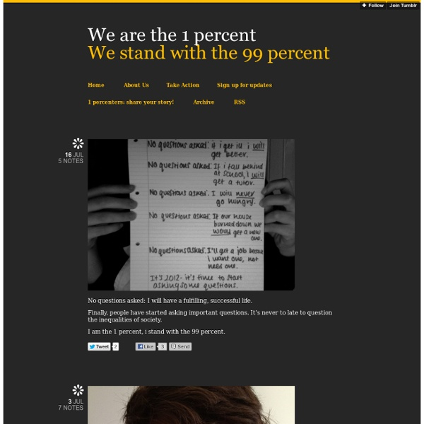 We are the 1 percent: We stand with the 99 percent