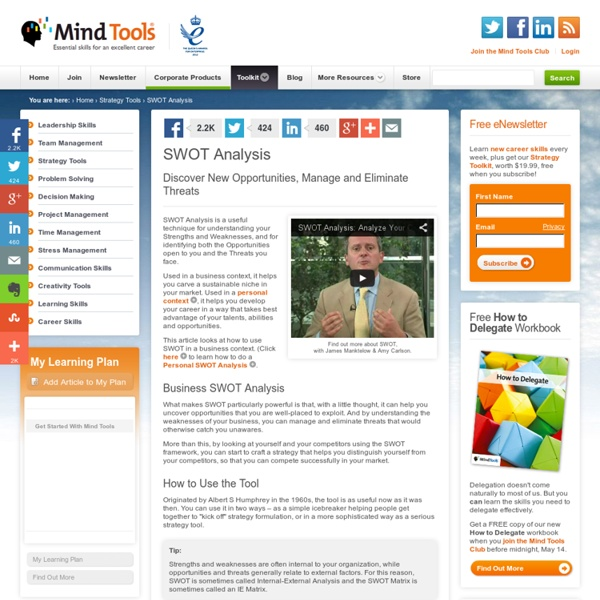 SWOT Analysis - Strategy Tools from MindTools