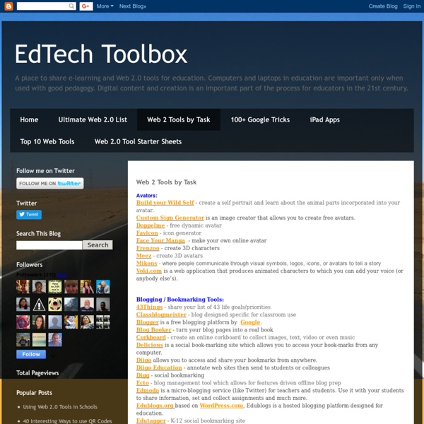 Web 2 Tools by Task