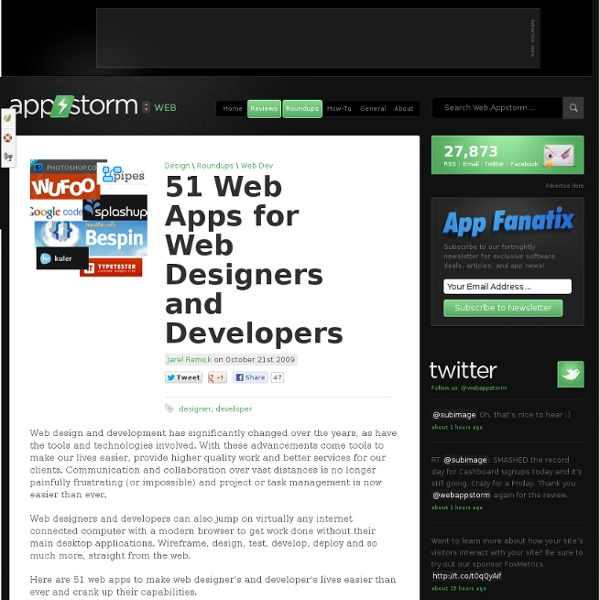 51 Web Apps for Web Designers and Developers – Web.AppStorm