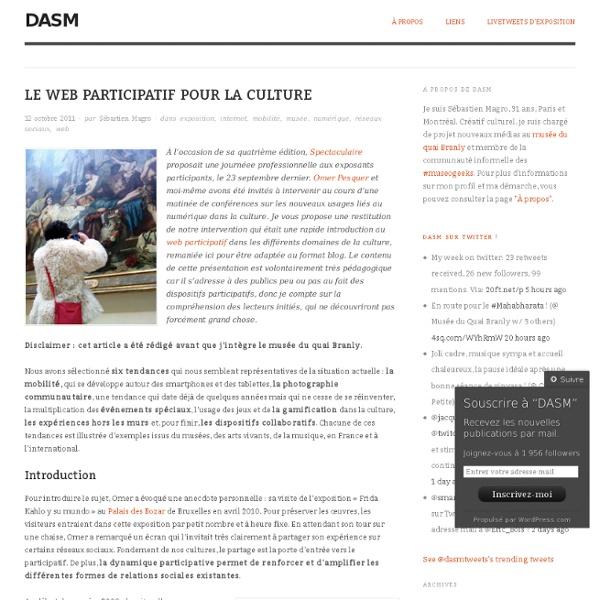 Le web participatif pour la culture