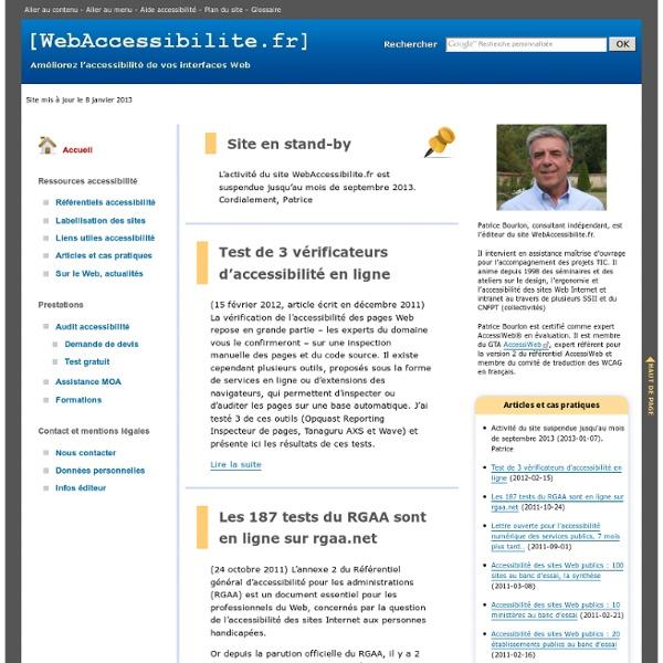 WebAccessibilite.fr, page d'accueil - Améliorez l'accessibilité de vos interfaces Web