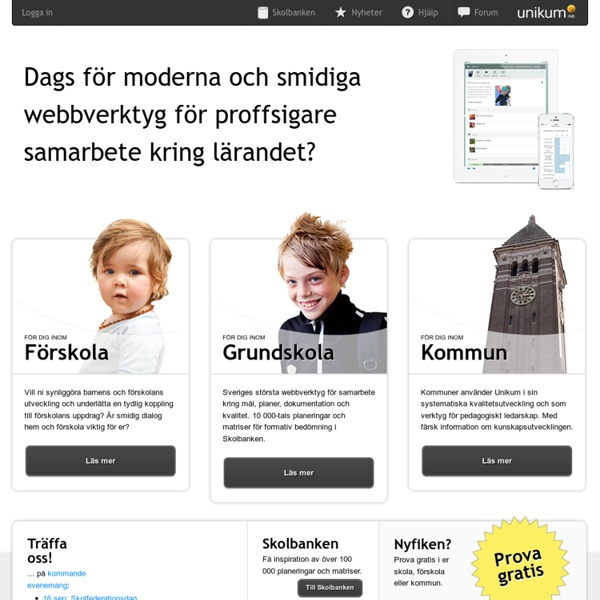 Webbverktyg för mål, planer och kvalitet i skolan! Unikum.net