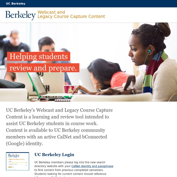 UC Berkeley Video and Podcasts for Courses & Events