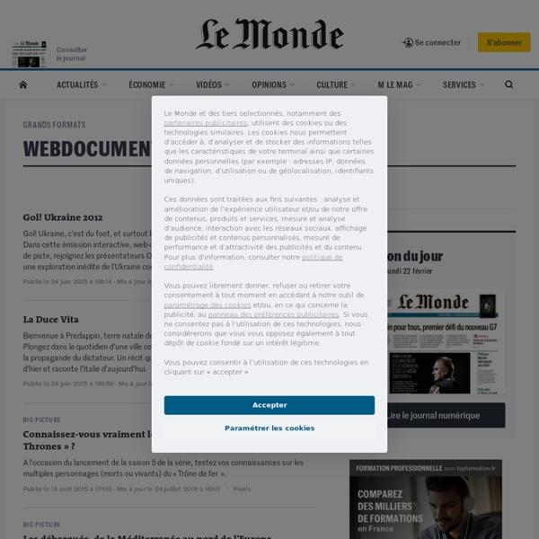 Webdocumentaires : Toute l'actualité sur Le Monde.fr.