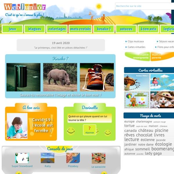 WebJunior, site pour enfants : jeux, coloriages, blagues, mots-croisés...