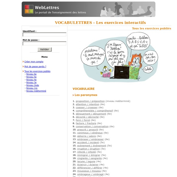 Exercices interactifs - Vocabulettres