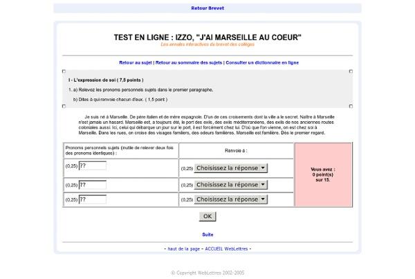 WebLettres - Les sujets de brevet interactifs - Izzo