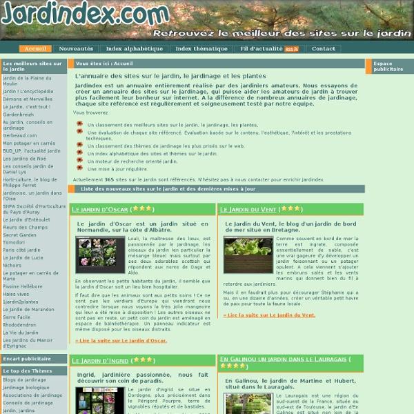 Jardindex, index des sites sur le jardin, le jardinage et les pl