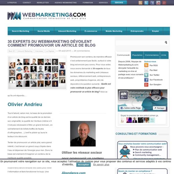 30 experts du webmarketing dévoilent comment promouvoir un article de blog