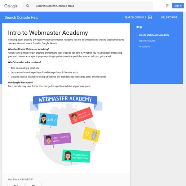 Webmaster Academy - Webmaster Tools Help