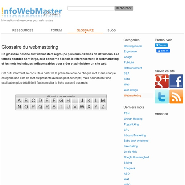 Glossaire Webmastering - InfoWebMaster
