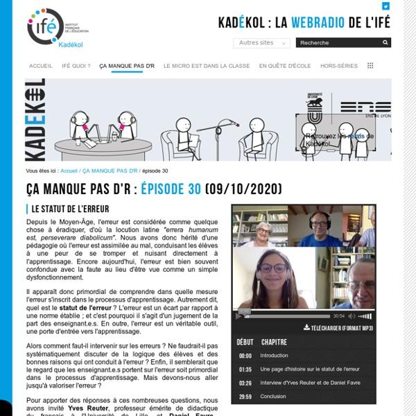 Épisode 30 — La WebRadio de l'Institut Français de l'Éducation