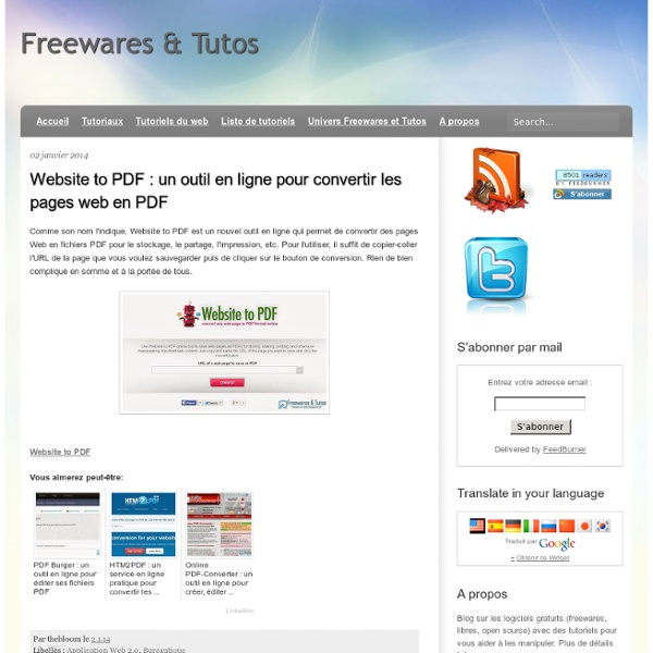 Un outil en ligne pour convertir les pages web en PDF