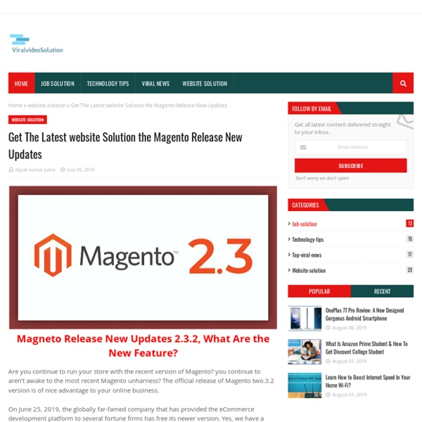 Get The Latest website Solution the Magento Release New Updates