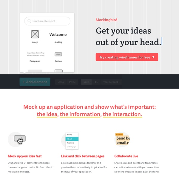 Website wireframes: Mockingbird