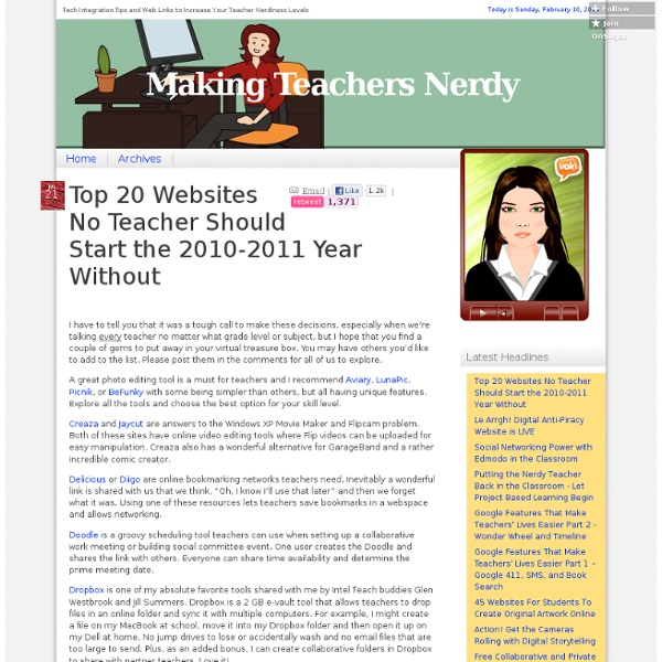 Top 20 Websites No Teacher Should Start the 2010-2011 Year Without
