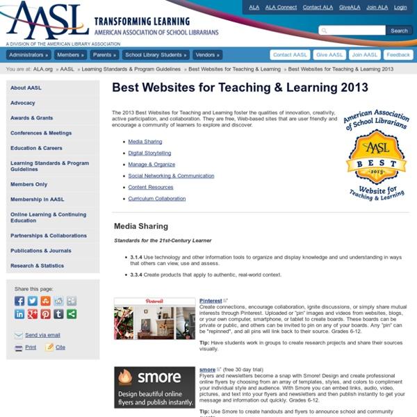 Best Websites for Teaching & Learning 2013