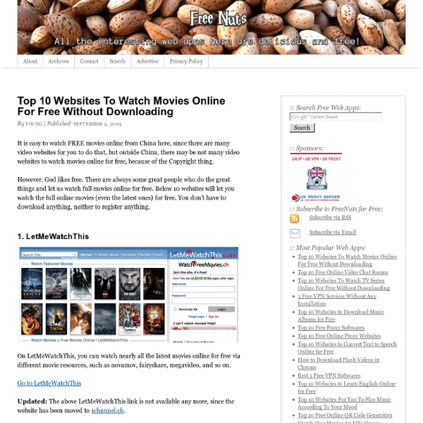 Top Sites To Watch Movies Online