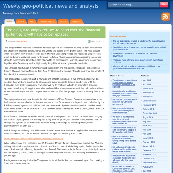 Weekly geo-political news and analysis