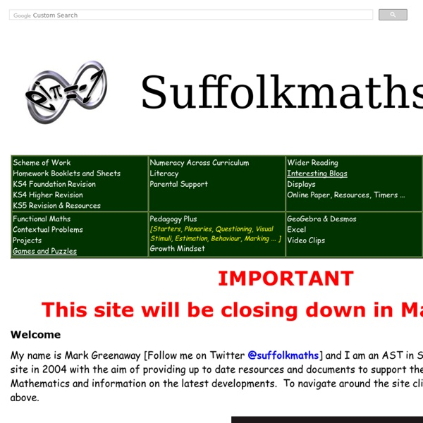 Suffolk Maths - Promoting Excellence in Mathematics