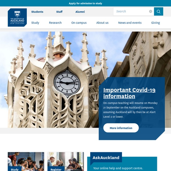 Welcome to the University of Auckland - The University of Auckland