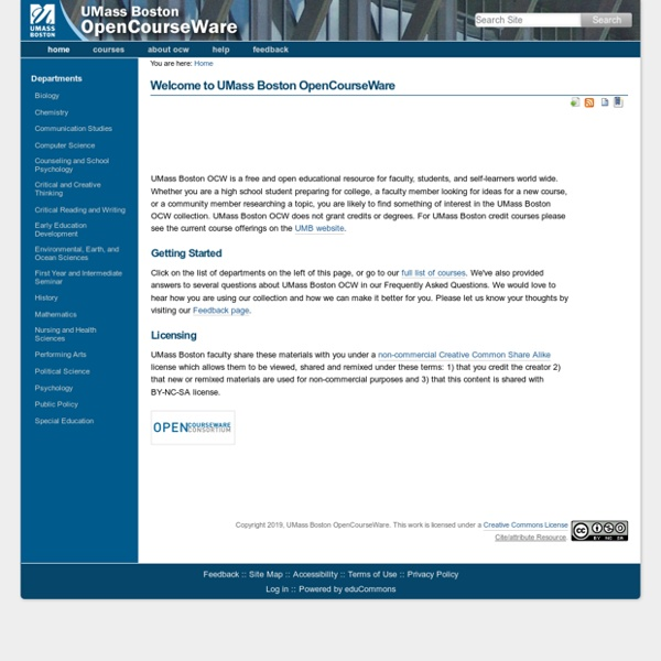 Welcome to UMass Boston OpenCourseWare — UMass Boston OpenCourseware