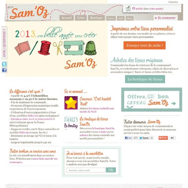 Bienvenue chez Sam'Oz - Impression numérique textile : du tissu personnalisé au mètre !