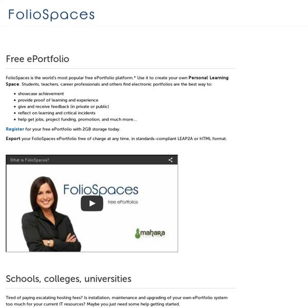 Home - FolioSpaces free ePortfolio - 2GB free storage - free