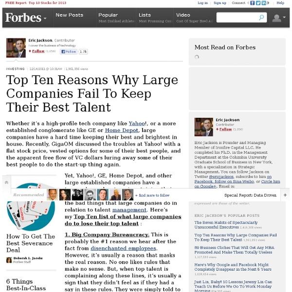 Top Ten Reasons Why Large Companies Fail To Keep Their ...