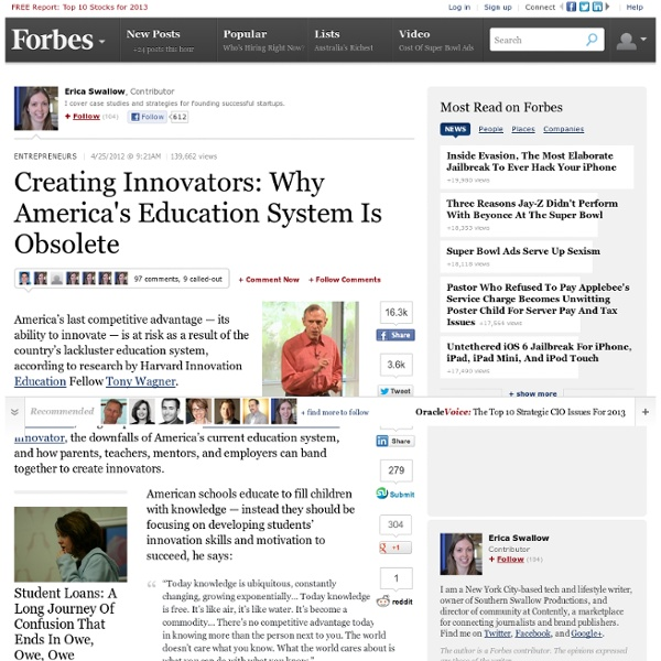 Creating Innovators: America's Education System Is Obsolete