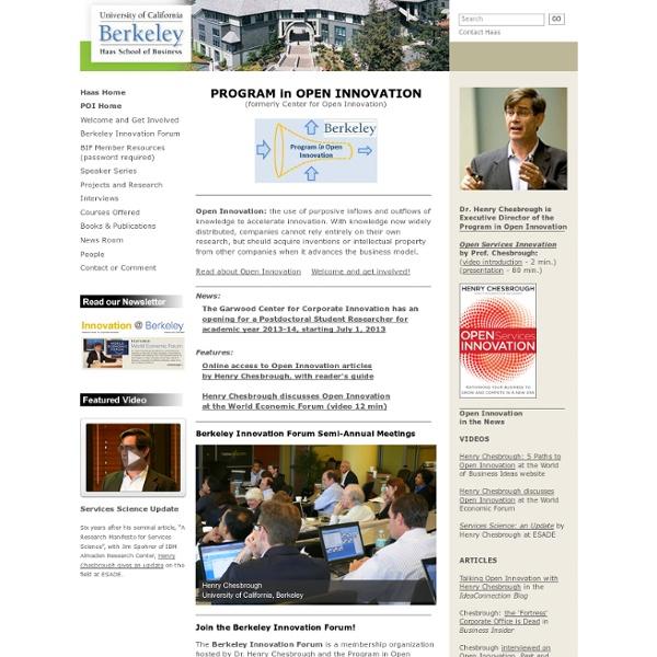 Program in Open Innovation under the Garwood Center for Corporate Innovation