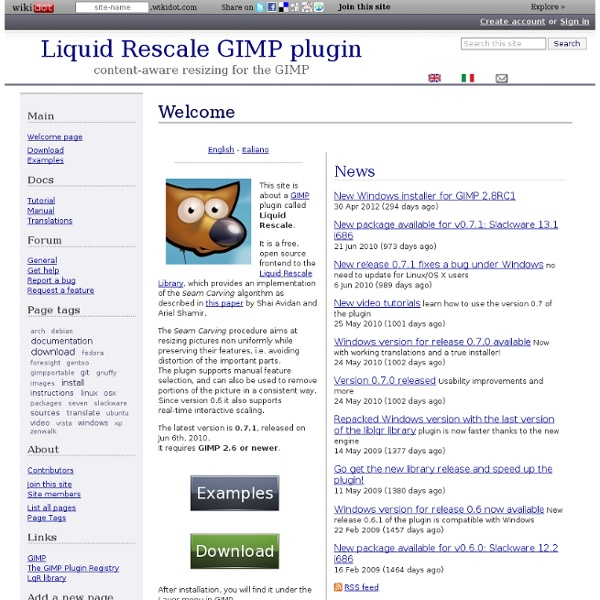 Welcome - Liquid Rescale GIMP plugin