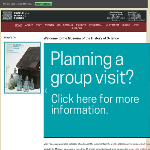 Welcome to the Museum of the History of Science - Museum of the History of Science : Museum of the History of Science